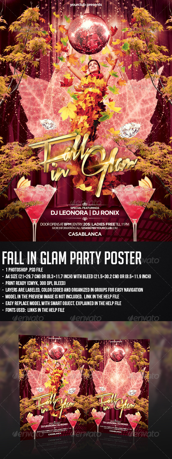Fall In Glam Party Flyer - Clubs & Parties Events