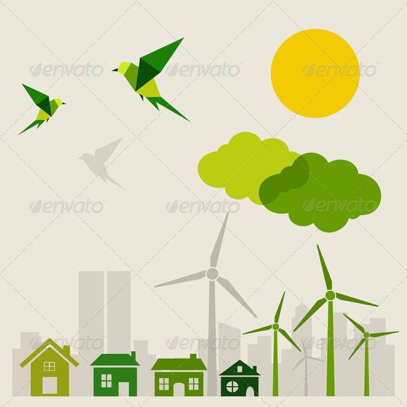 Ecology a city - Stock Photo - Images