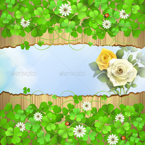 GraphicRiver Wood Background with Clover 5529834