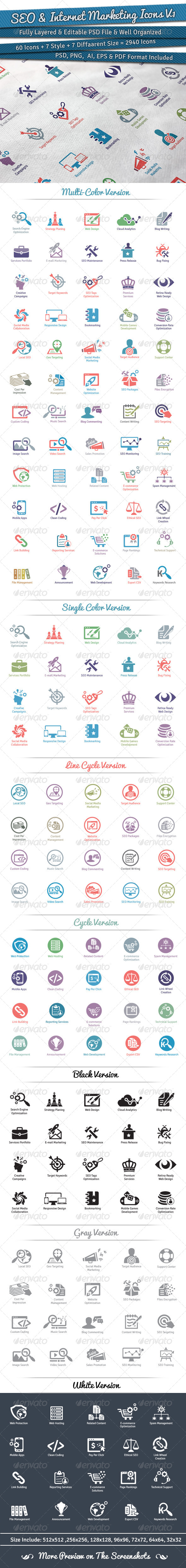 GraphicRiver 60 SEO & Internet Marketing Icons Volume 1 5530809