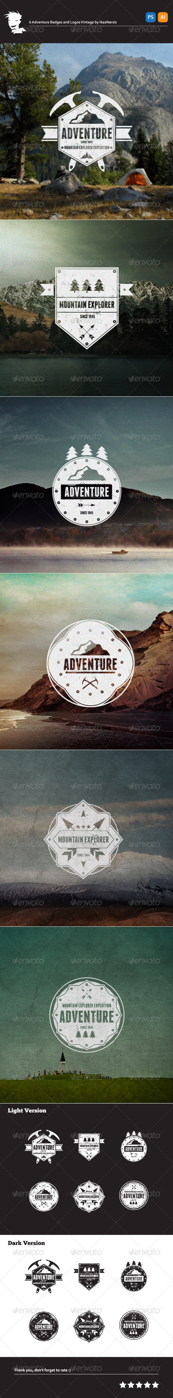 6 Adventure Badges and Logos Vintage - Badges & Stickers Web Elements