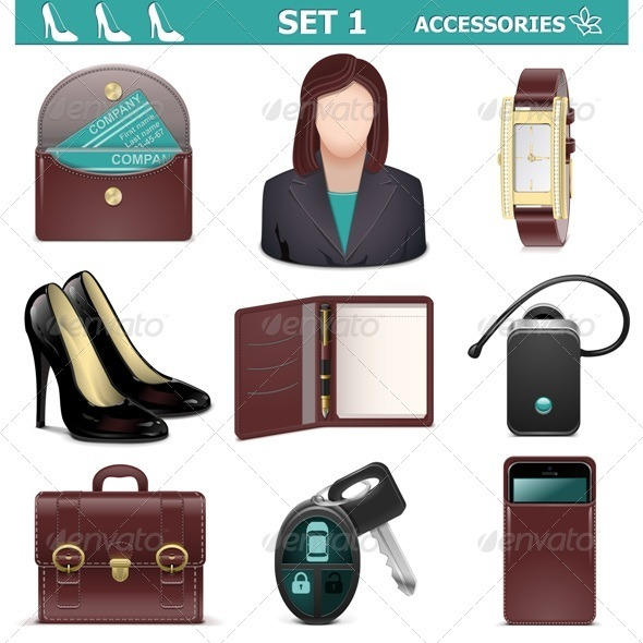 GraphicRiver Vector Female Accessories Set 1 5530898