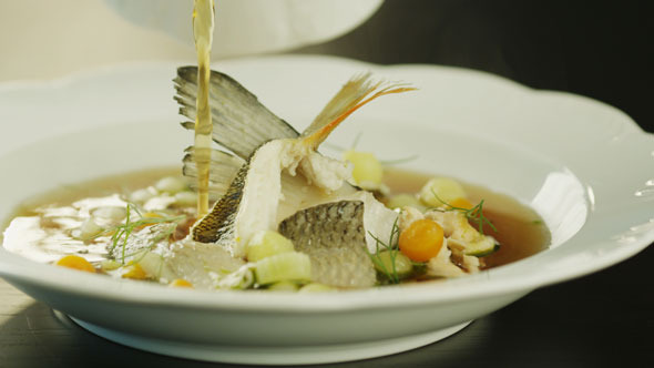 VideoHive Serving Soup with Fish in Restaurant 5531682