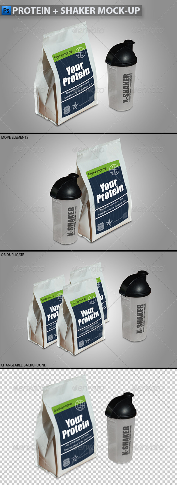 GraphicRiver Protein in Plastic Bag & Shaker Mock-up 5532243