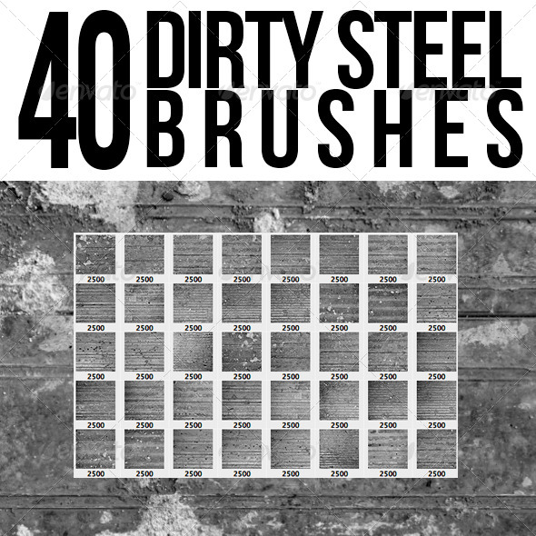 GraphicRiver 40 Dirty Steel Brushes 5517225
