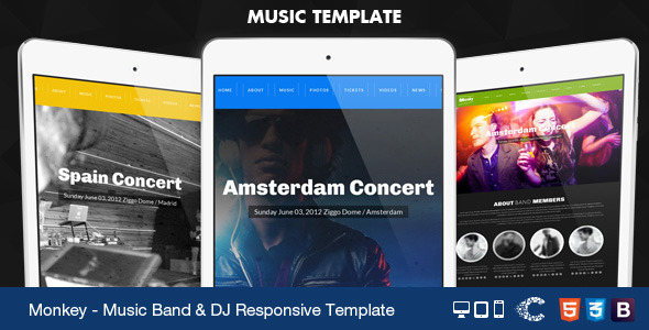 Monkey - One Page Music Band Parallax Responsive - Music and Bands Entertainment