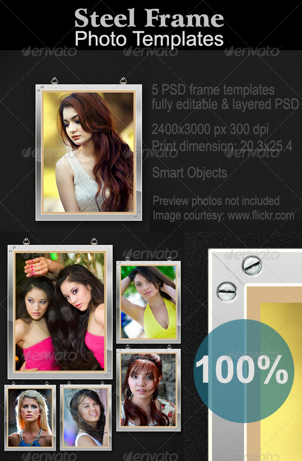 GraphicRiver Steel Photo Frames Mock-up 5504211