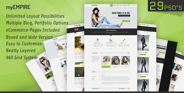 myEmpire - Business, Portfolio, Shop PSD - Corporate PSD Templates