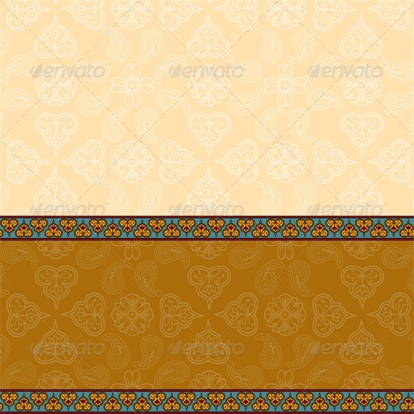 GraphicRiver Ethnic Background with Floral Pattern Border 5537062