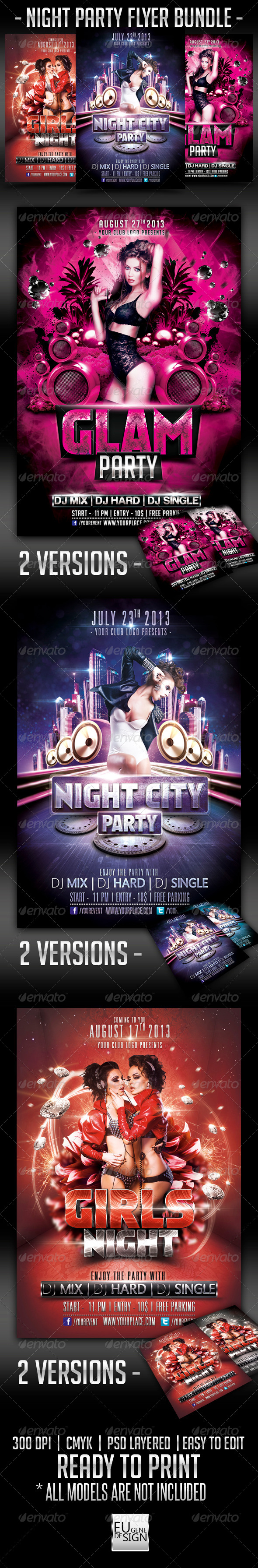 Night Party Flyer Bundle - Clubs & Parties Events