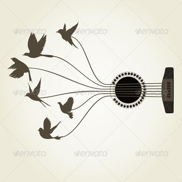 GraphicRiver Bird a Guitar 5538825