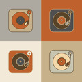 Vintage Record Player Icons - PhotoDune Item for Sale