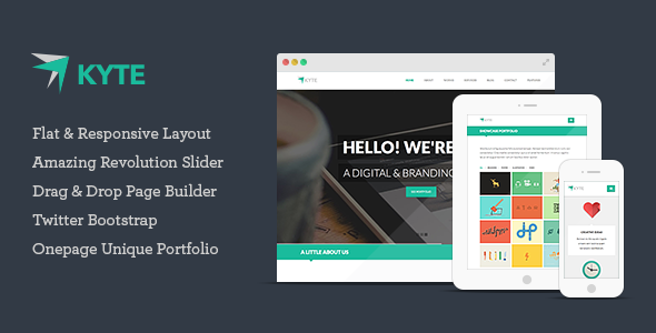 ThemeForest Kyte Flat Onepage Responsive WordPress Theme 5540844