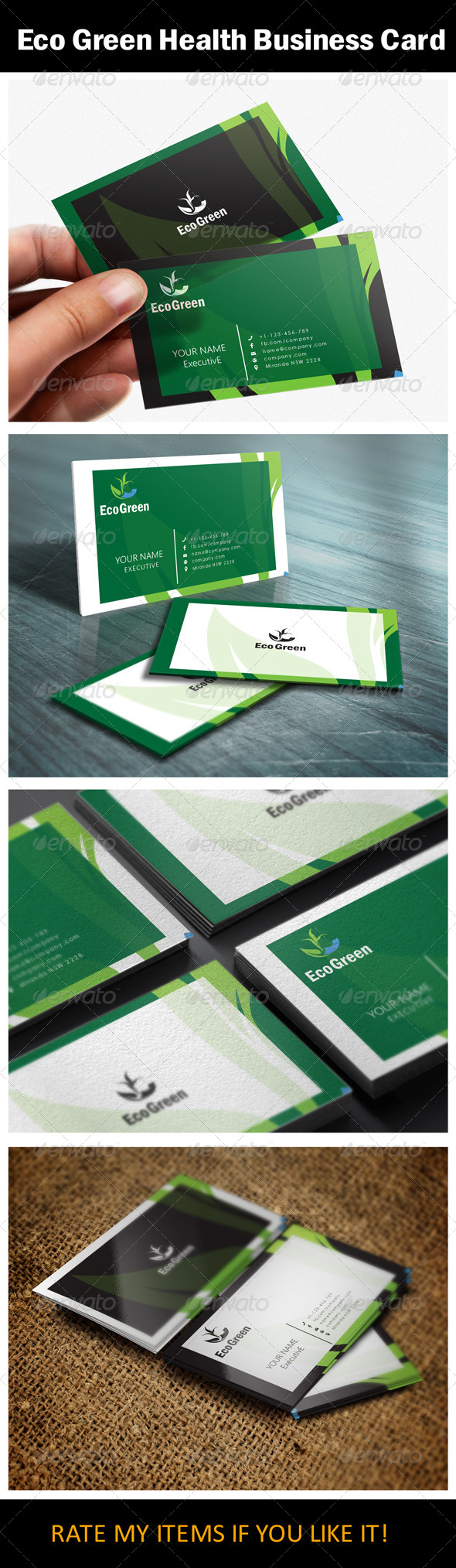 GraphicRiver Eco Green Health Business Card Design 5487282
