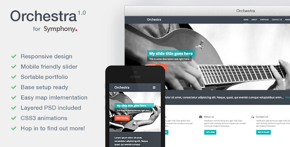 ThemeForest Orchestra Resposive Symphony CMS Theme 5517231