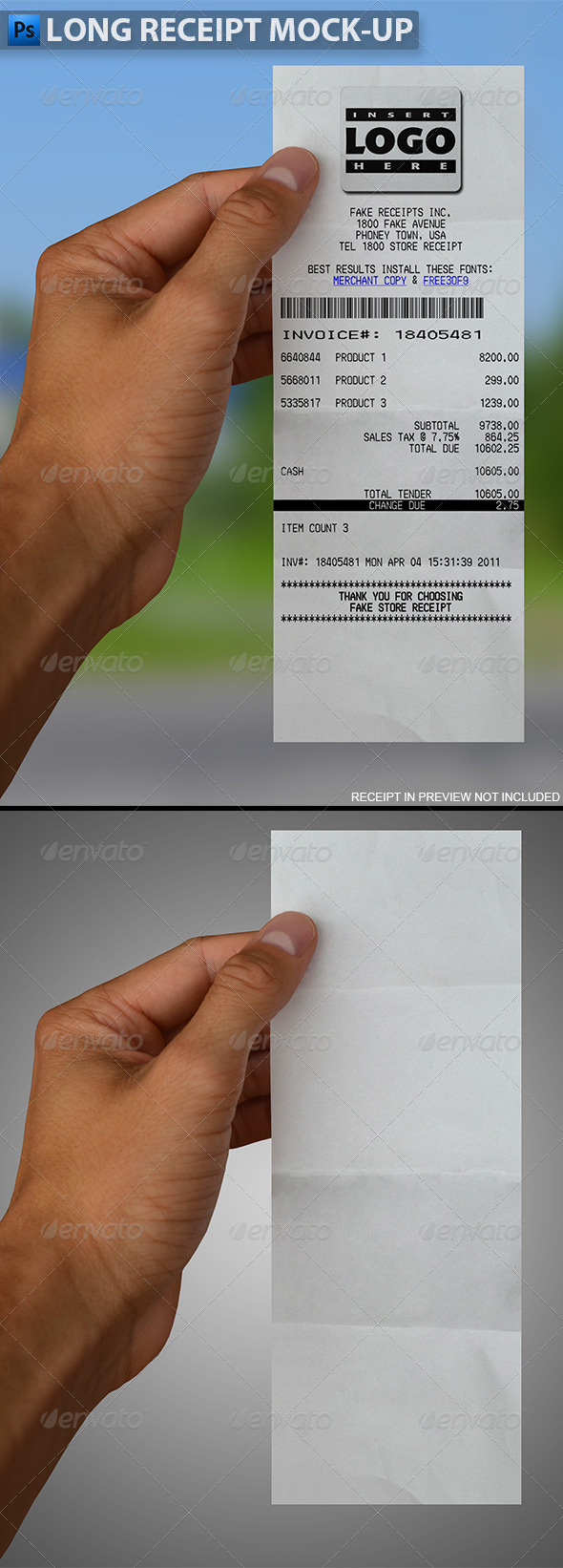 GraphicRiver Long Receipt in Hand Mock-up 5542437