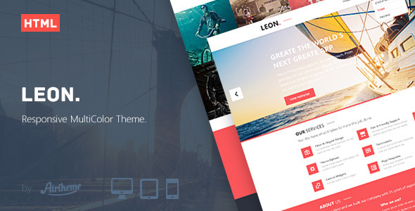 ThemeForest Leon MultiColor Responsive HTML5 Theme 5546158