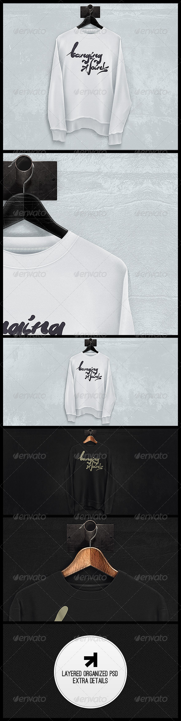 GraphicRiver Black White Sweatshirt Mockup 5546600