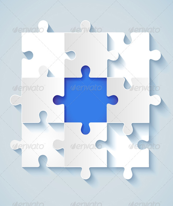 GraphicRiver Paper Puzzle with a Blue the Middle 5547903
