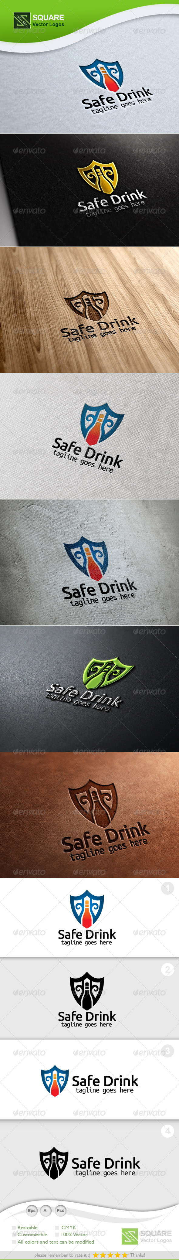 GraphicRiver Shield Bottle Vector Logo Template 5548893