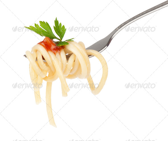Pasta on Fork - Stock Photo - Images