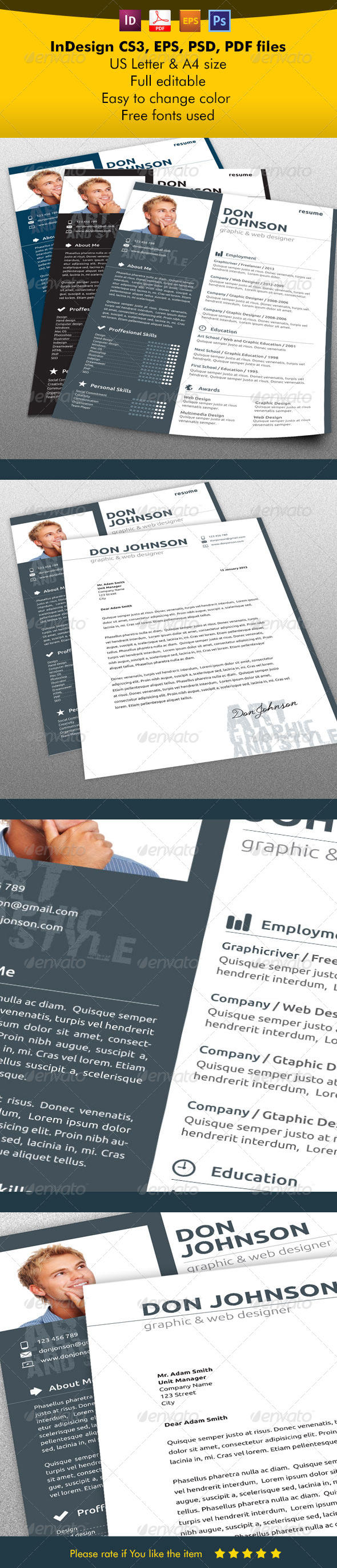 Resume/CV Modern Style - Resumes Stationery