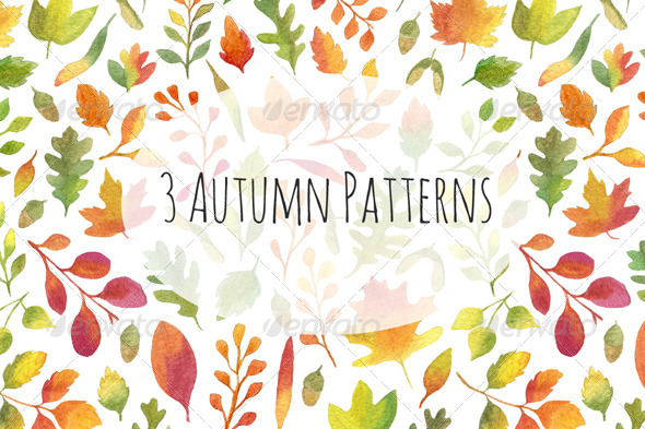 GraphicRiver 3 Autumn Leaves Patterns 5522248