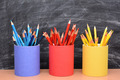 Colored Pencils in Matching Pencil Cups - PhotoDune Item for Sale