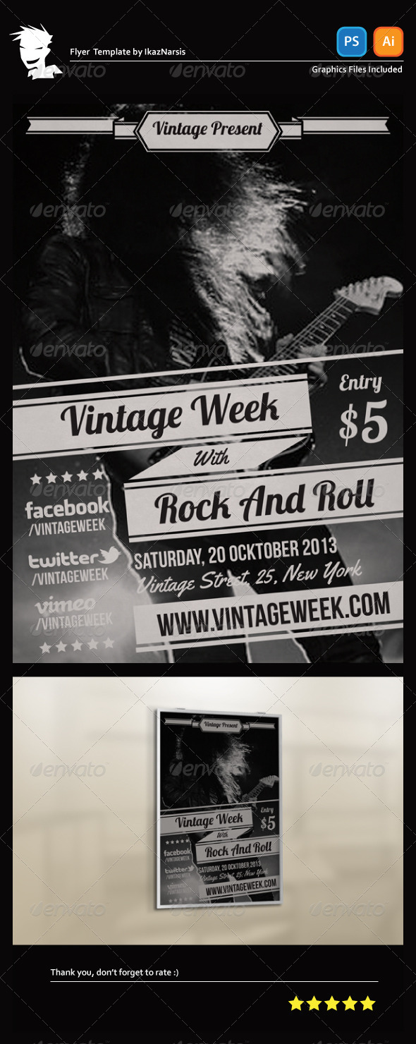 Vintage Week Flyer Template - Concerts Events