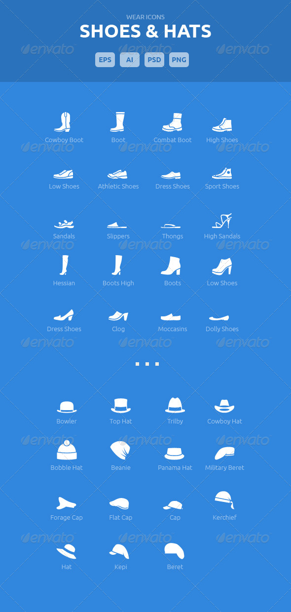 GraphicRiver Wear Icons Shoes & Hats Vector Pack 5540243