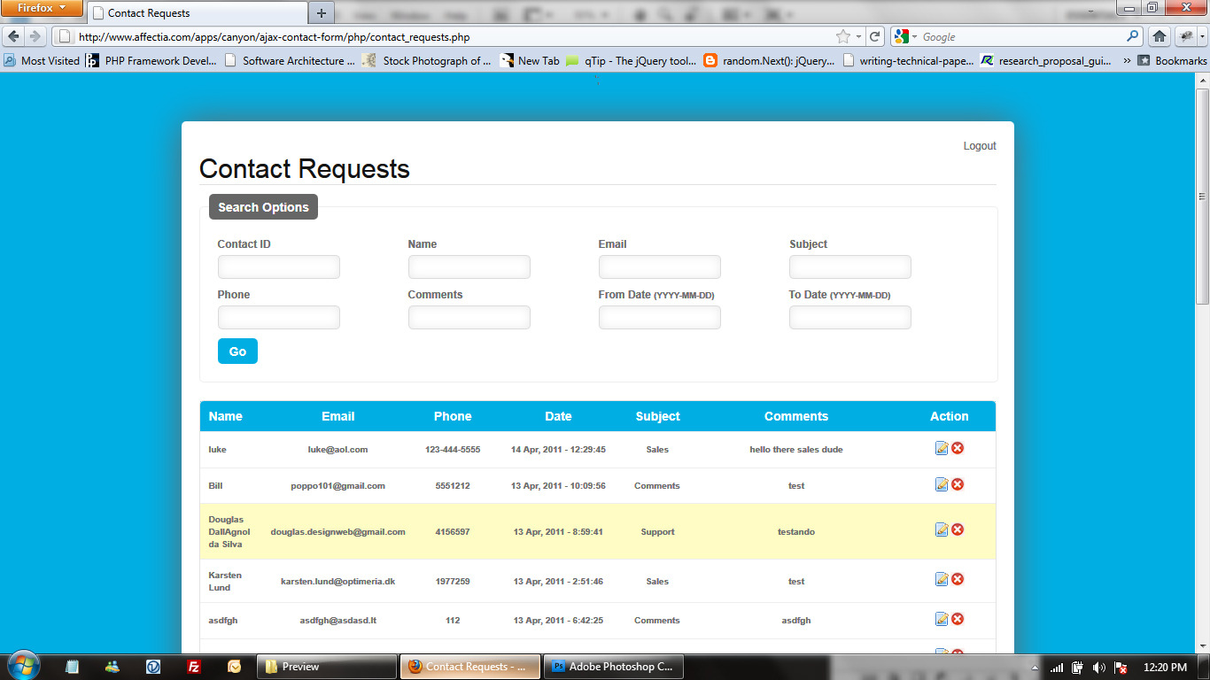 Ajax PHP Contact Form with CSV Exporter &amp; Filters