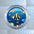 Illustration of Porthole and Colorful Fishes - PhotoDune Item for Sale