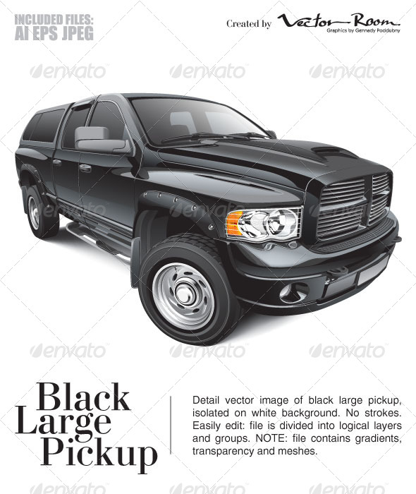 Black Large Pickup - Vectors