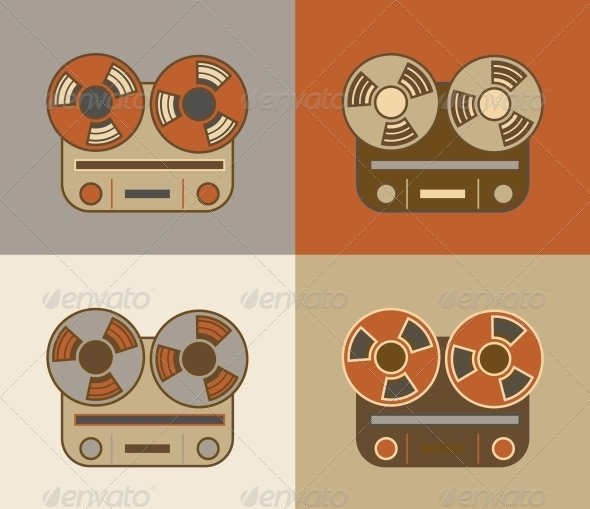 GraphicRiver Retro Reel to Reel Tape Recorder Icon 5562425