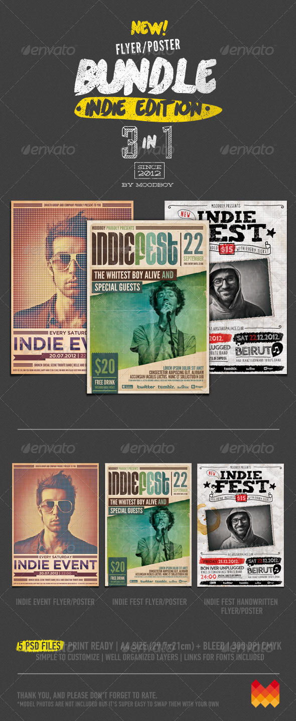 GraphicRiver Indie Flyers Posters Bundle 5532460