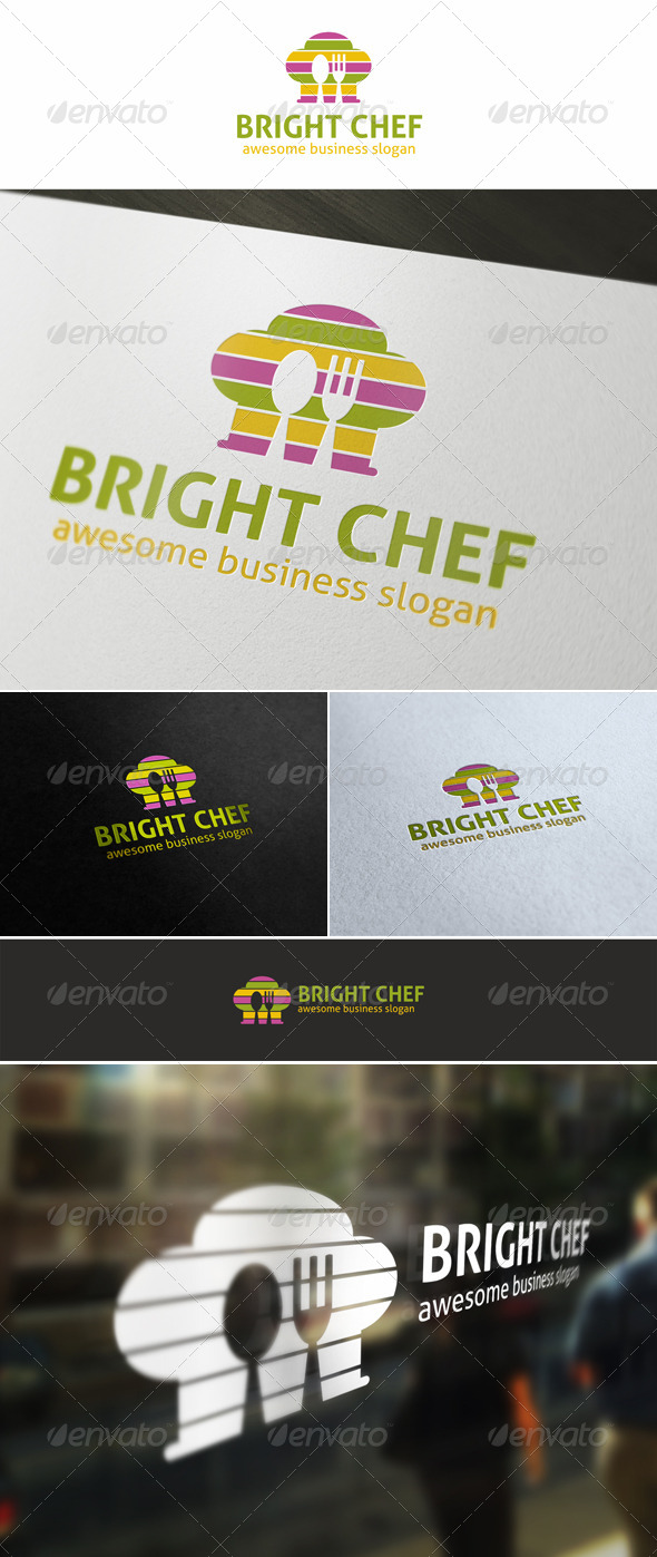 Bright Chef Cuisine Logo - Food Logo Templates