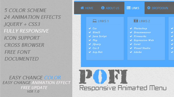 CodeCanyon Pofi Responsive Animated Menu 5564545