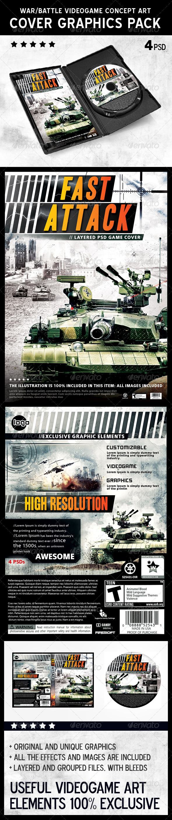 Battle War Videogame Stationery DVD Cover Template - CD & DVD artwork Print Templates