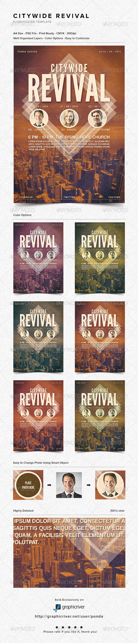 Citywide Revival Flyer/Poster Template - Church Flyers