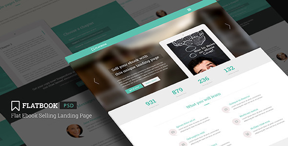 FlatBook - Flat Ebook Selling Landing Page PSD - Marketing Corporate