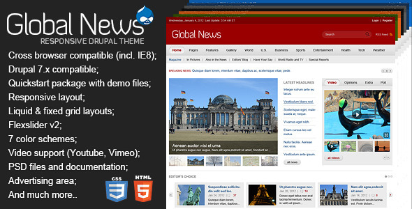 ThemeForest Global News Portal Responsive Drupal Theme 5556087