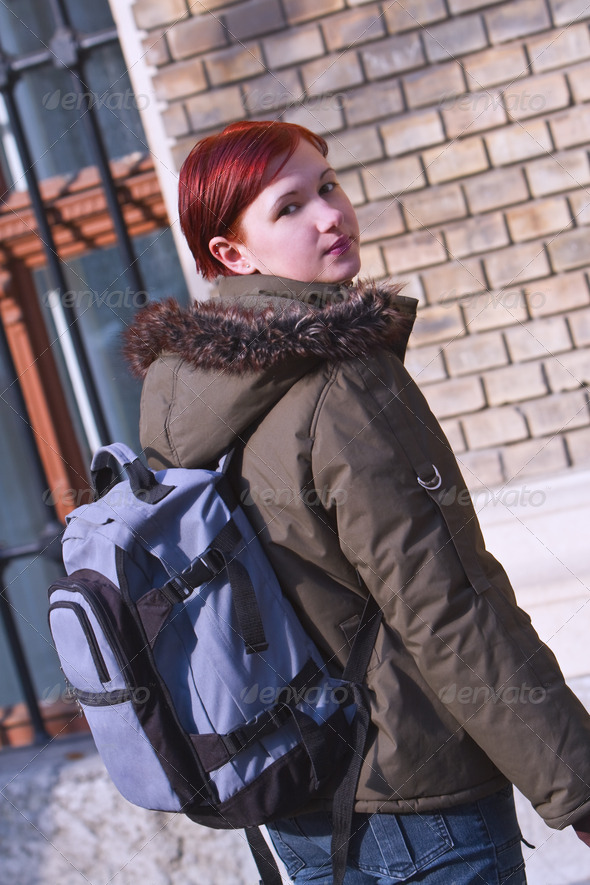 Redhair Student Girl  - Stock Photo - Images