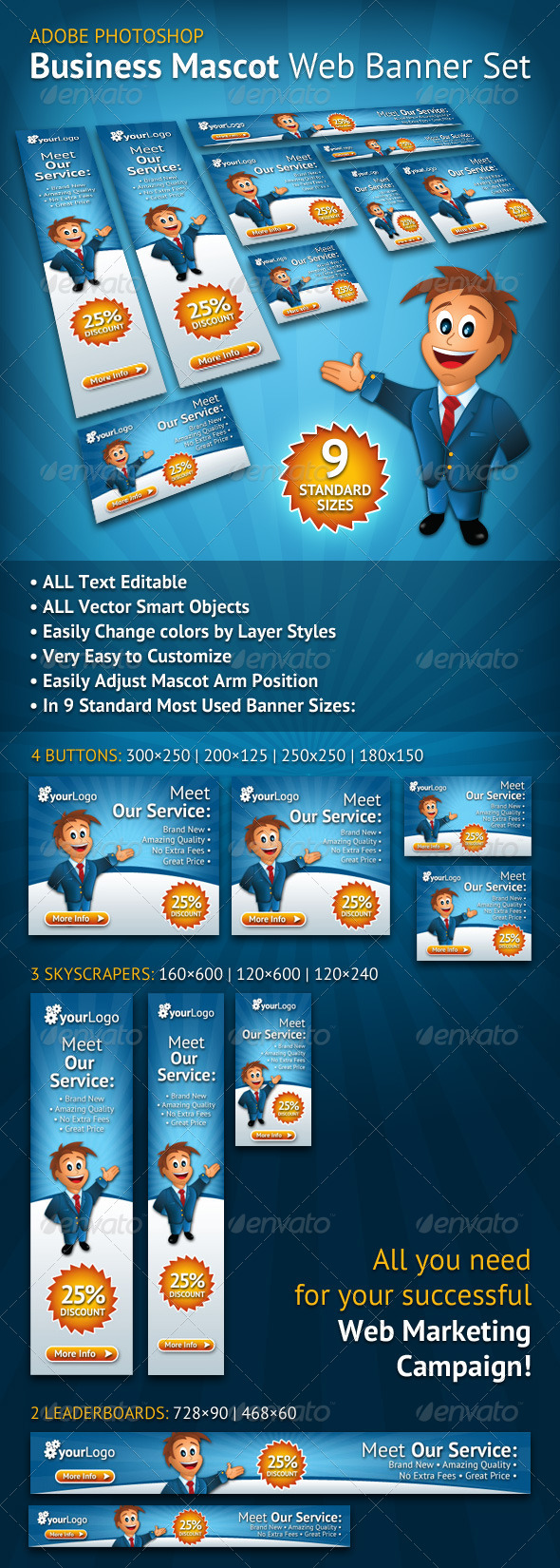 Business Mascot Web Banner Set - Banners & Ads Web Elements