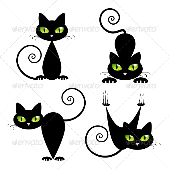GraphicRiver Black Cat with Green Eyes 5568813