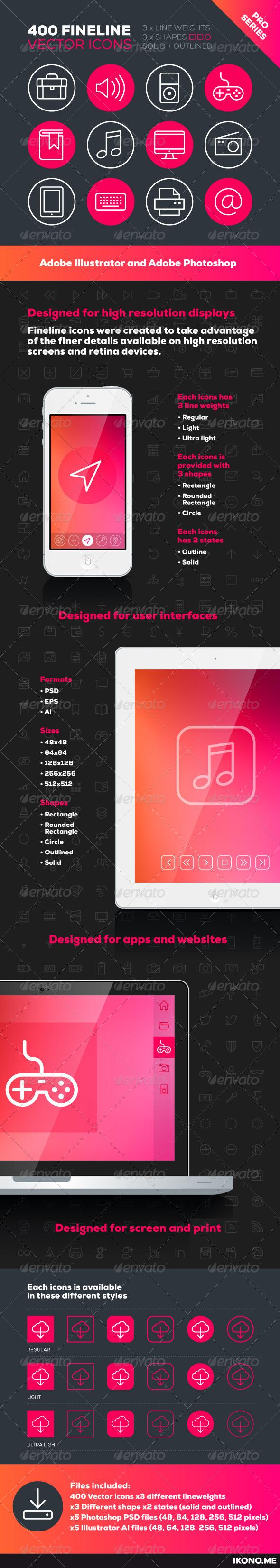 GraphicRiver 400 Fineline Icons 5553230