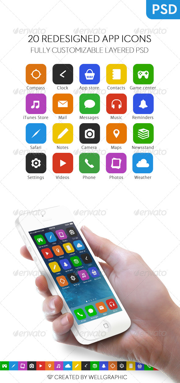 GraphicRiver 20 Redesigned App Icons 5487527