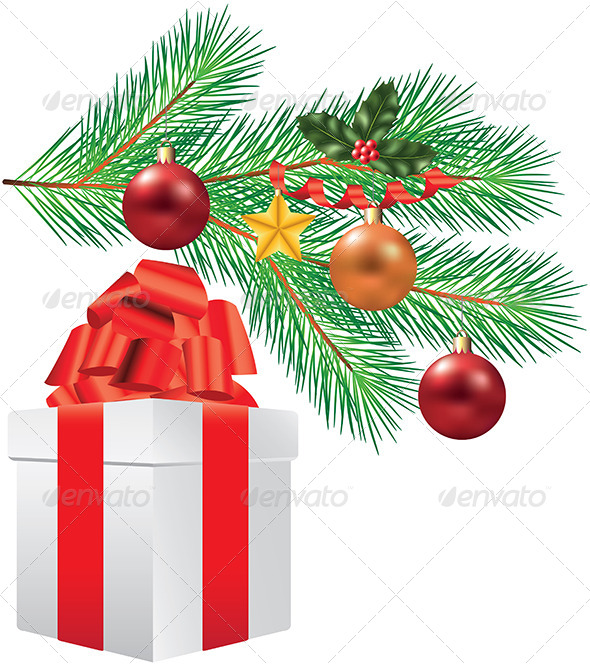 GraphicRiver Christmas Tree Branch with Gift Box 5570863