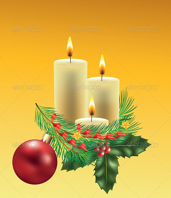 GraphicRiver Christmas Candles with Decorated Fir-Tree Branch 5570898