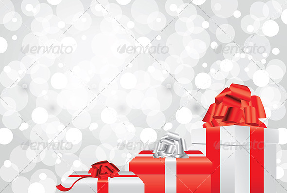 GraphicRiver White Christmas Background with Gifts and Presents 5571013