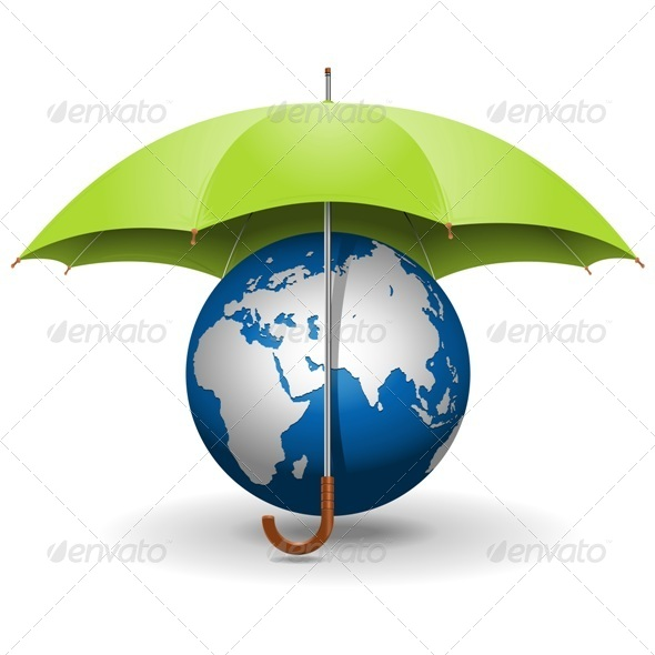 GraphicRiver Vector Umbrella and Globe 5571156